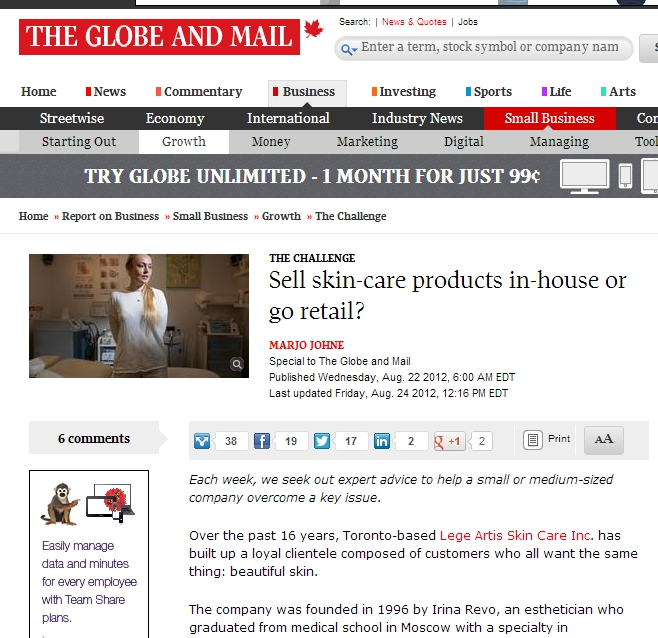 Globe and Mail screenshot